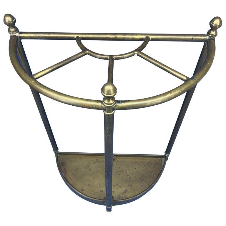Campaign Italian Mid-Century Modern Brass Umbrella Stand For Sale