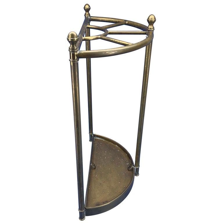 Italian Mid-Century Modern Brass Umbrella Stand In Good Condition For Sale In Haddonfield, NJ