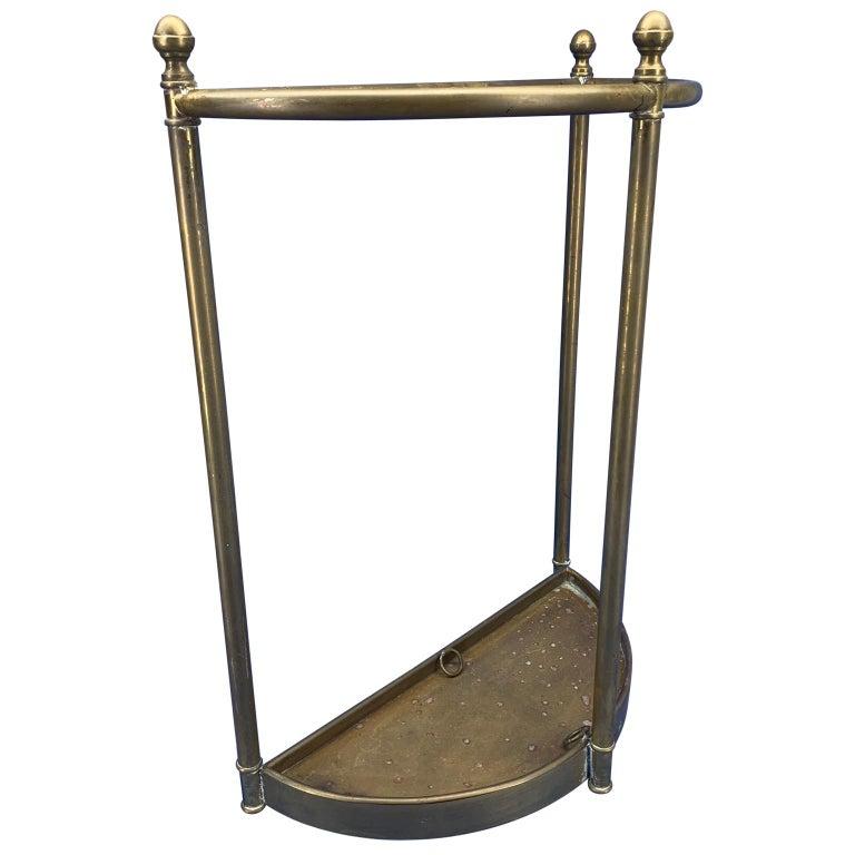 20th Century Italian Mid-Century Modern Brass Umbrella Stand For Sale