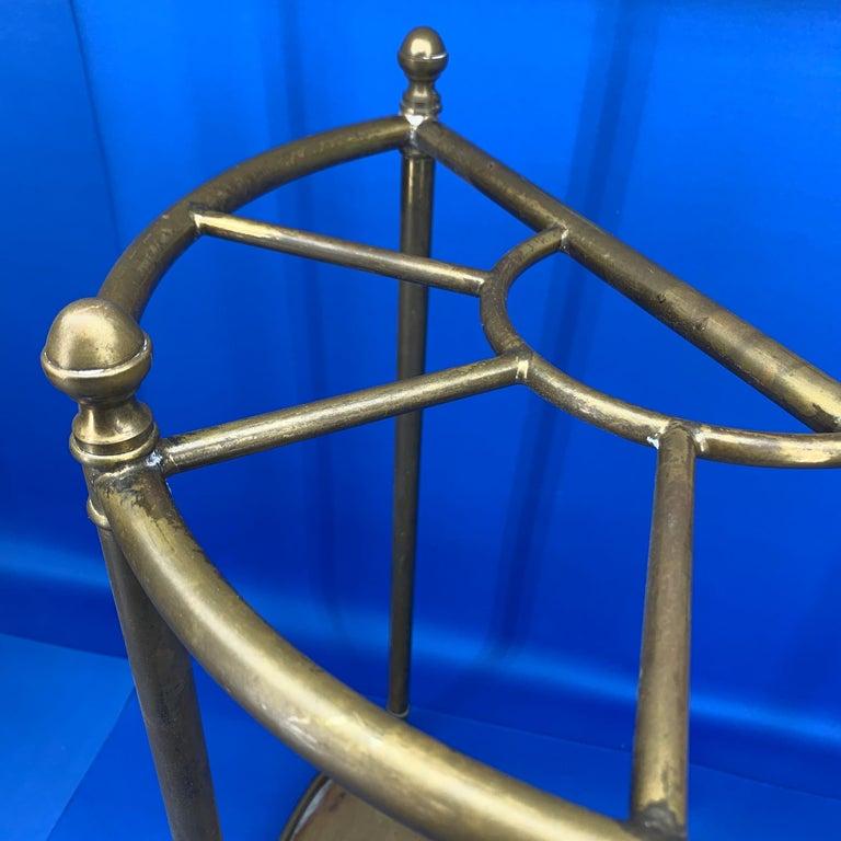 Italian Mid-Century Modern Brass Umbrella Stand For Sale 3
