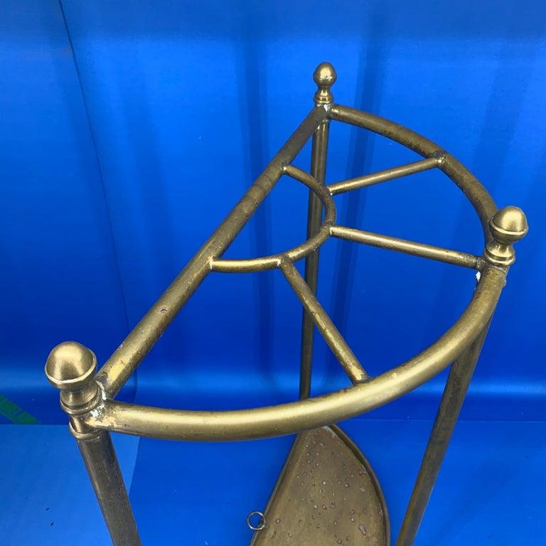 Italian Mid-Century Modern Brass Umbrella Stand For Sale 4