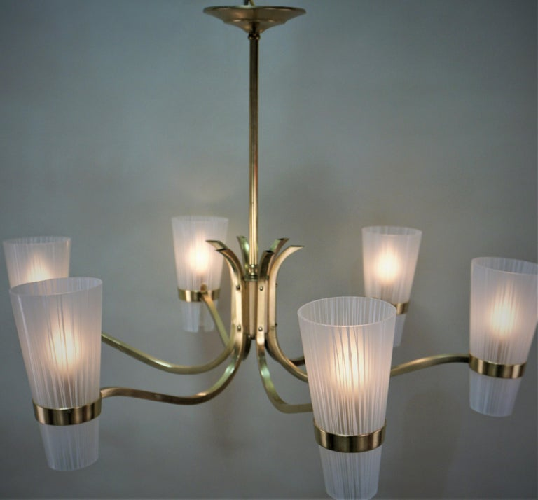 Italian Midcentury Bronze and Glass Chandelier For Sale 6