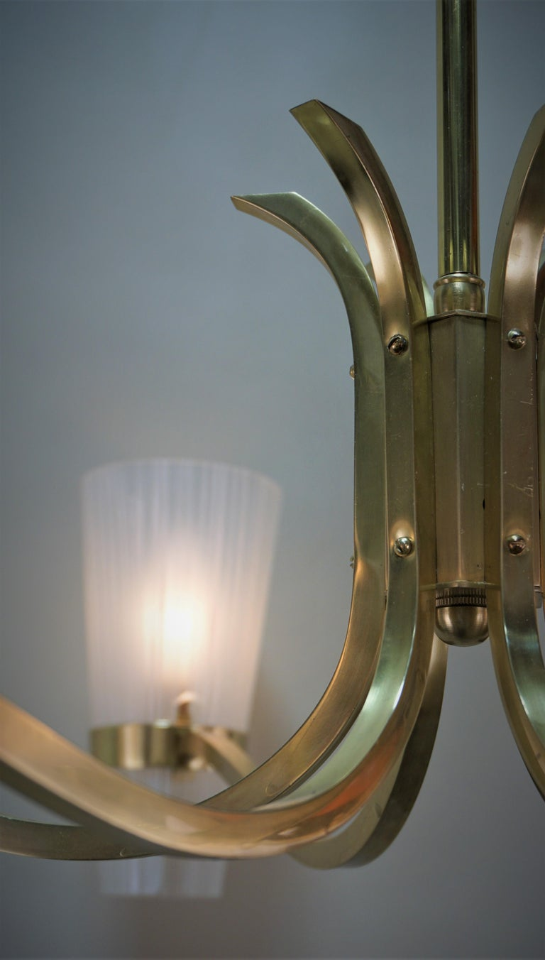 Mid-20th Century Italian Midcentury Bronze and Glass Chandelier For Sale