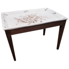 Italian Midcentury Ceramic Topped Tray Table