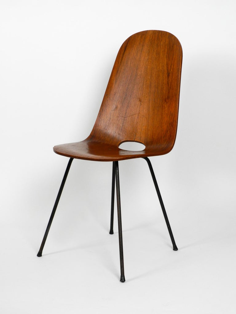 Italian Midcentury Chair by Vittorio Nobili Made of Plywood with Teak Veneer For Sale 6