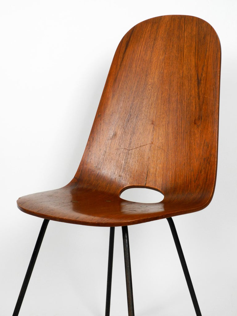 Mid-20th Century Italian Midcentury Chair by Vittorio Nobili Made of Plywood with Teak Veneer For Sale