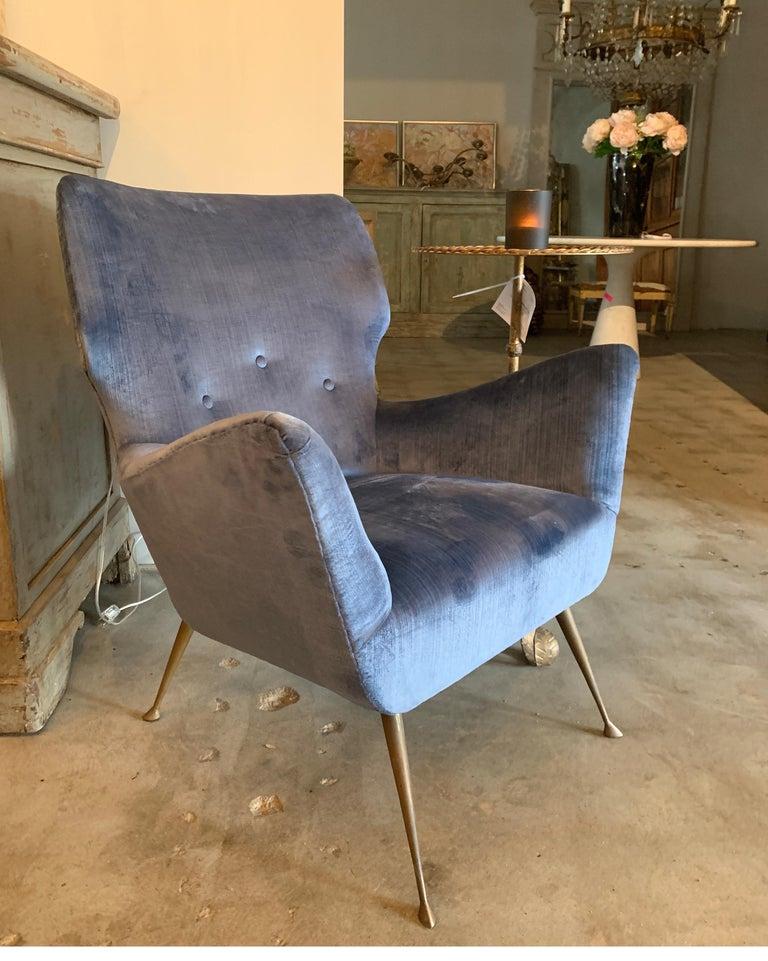 Italian Midcentury Chair with Blue Velvet Upholstery For Sale 5