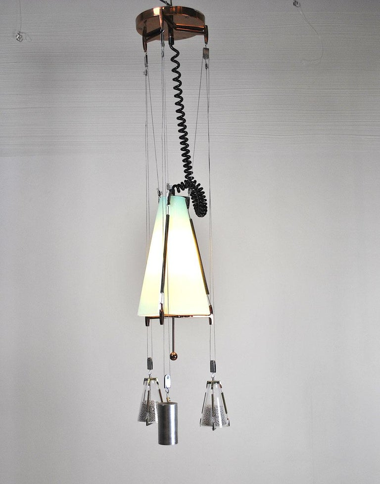 Italian Midcentury Chandelier in the Atomic Style from the 1960s In Good Condition In bari, IT