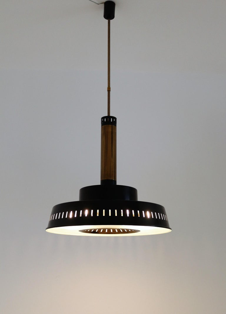 Italian Midcentury Chandelier Mod, #1157 in Brass and Glass by Stilnovo, 1950s For Sale 7