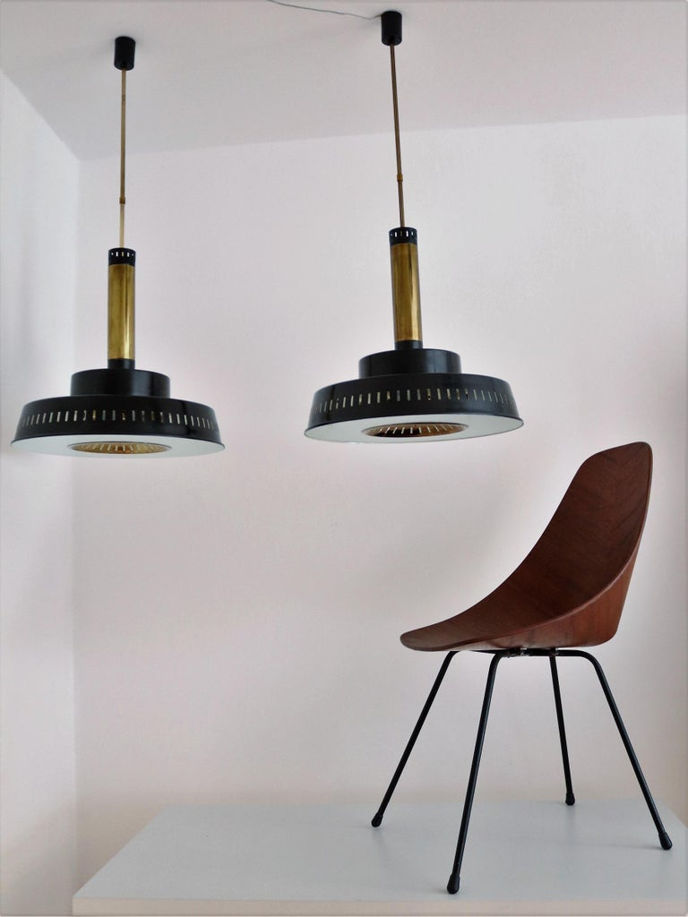 Italian Midcentury Chandelier Mod, #1157 in Brass and Glass by Stilnovo, 1950s For Sale 14