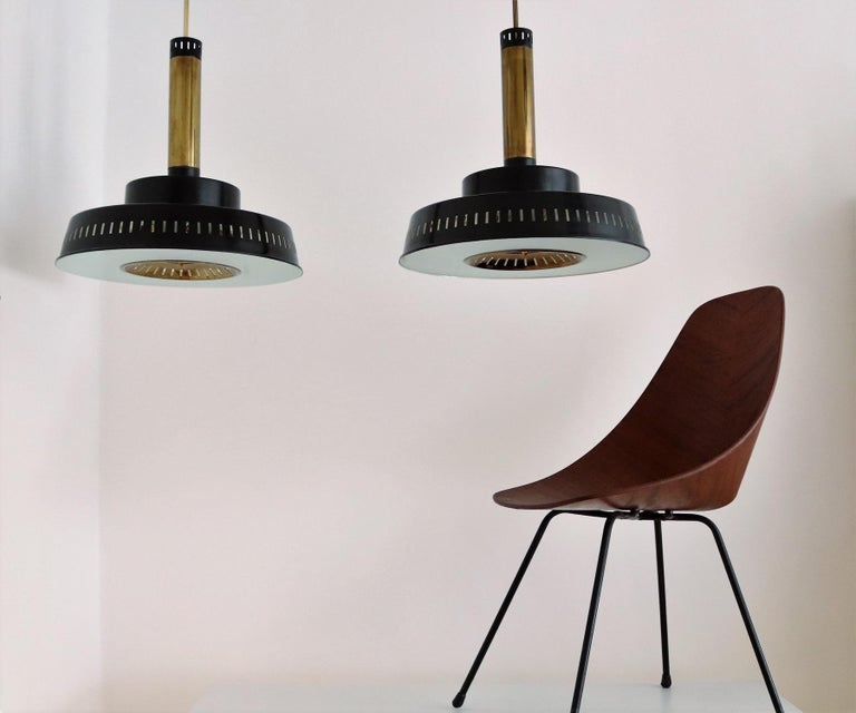 Mid-20th Century Italian Midcentury Chandelier Mod, #1157 in Brass and Glass by Stilnovo, 1950s For Sale