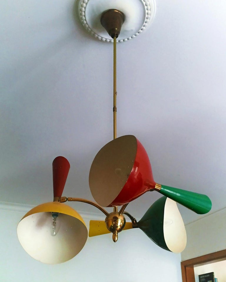 Italian Mid-Century Chandelier three-arm with Diabolò by Stilnovo, 1950s In Good Condition For Sale In Traversetolo, IT