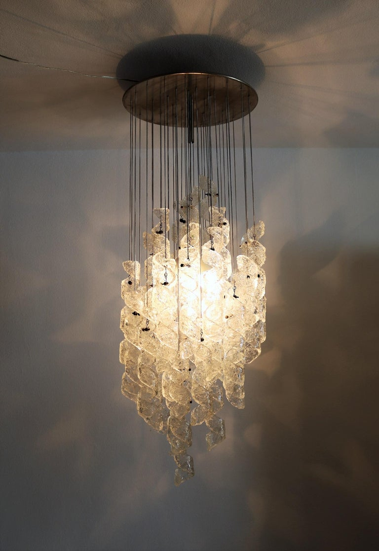 Italian Midcentury Chandelier with Curly Glasses by Zero Quattro, 1970s For Sale 8