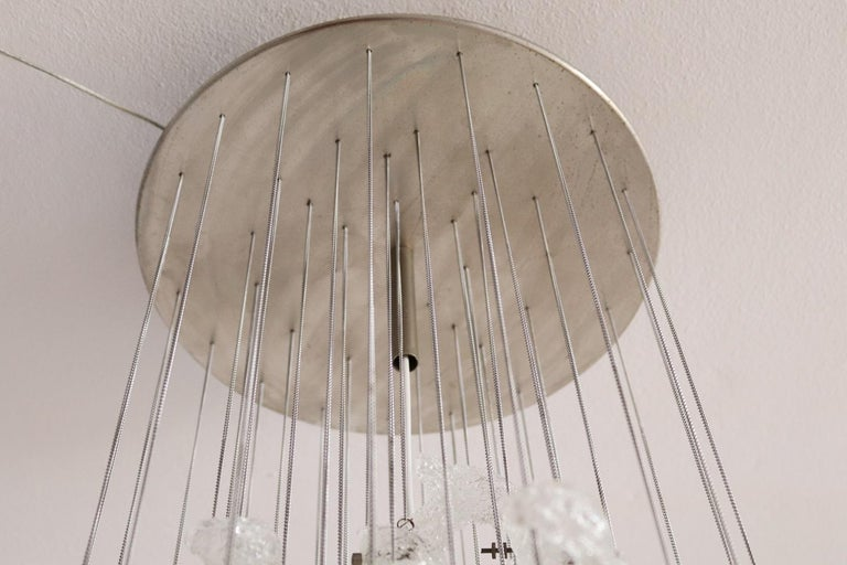 Italian Midcentury Chandelier with Curly Glasses by Zero Quattro, 1970s For Sale 9