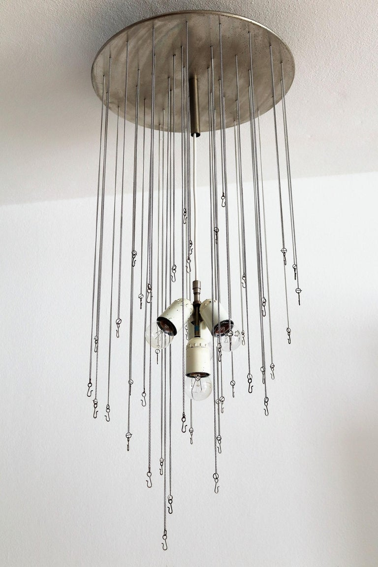 Italian Midcentury Chandelier with Curly Glasses by Zero Quattro, 1970s For Sale 10
