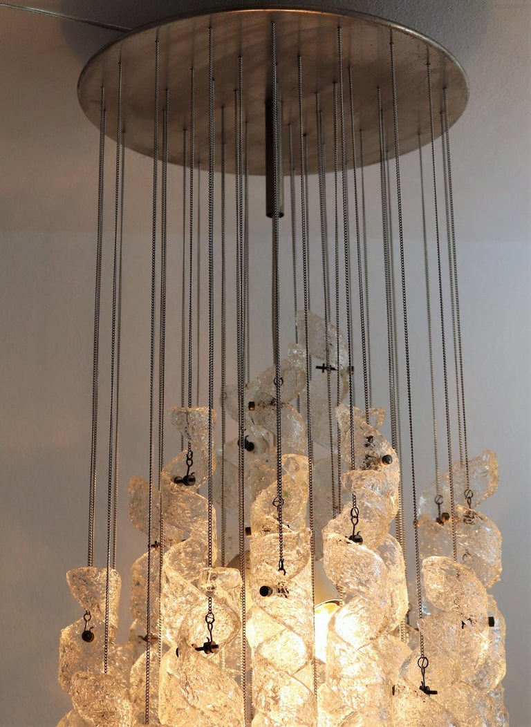 Late 20th Century Italian Midcentury Chandelier with Curly Glasses by Zero Quattro, 1970s For Sale