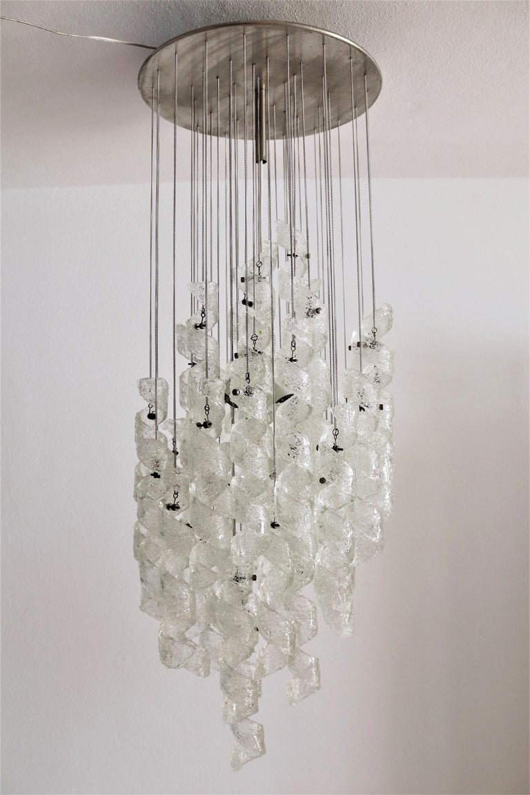 Italian Midcentury Chandelier with Curly Glasses by Zero Quattro, 1970s For Sale 3