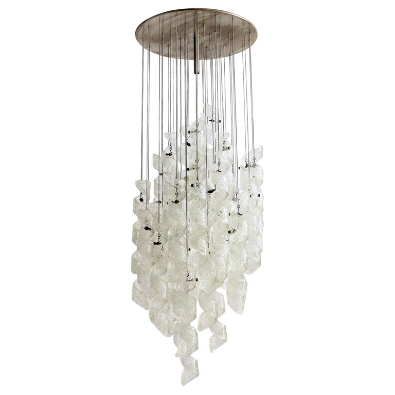 Italian Midcentury Chandelier with Curly Glasses by Zero Quattro, 1970s For Sale