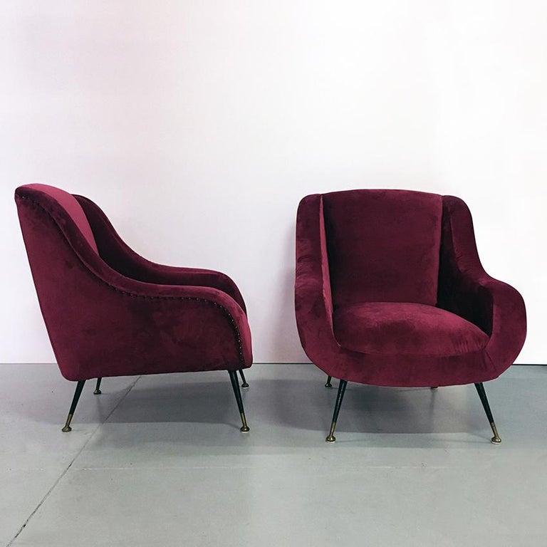 Mid-Century Modern Italian Midcentury Cherry Red Velvet and Brass Armchairs, 1950s For Sale