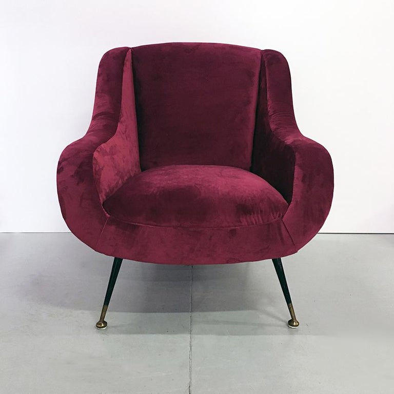 Mid-20th Century Italian Midcentury Cherry Red Velvet and Brass Armchairs, 1950s For Sale