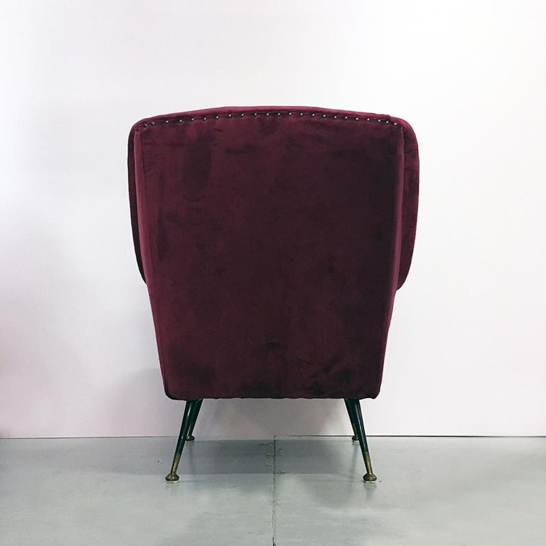 Italian Midcentury Cherry Red Velvet and Brass Armchairs, 1950s For Sale 2