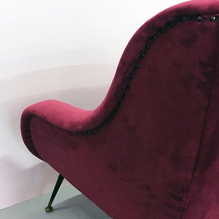 Italian Midcentury Cherry Red Velvet and Brass Armchairs, 1950s For Sale 3