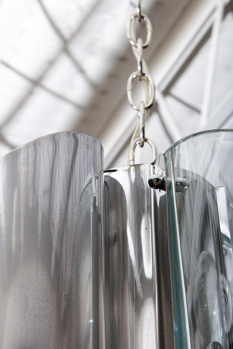 Italian Midcentury Chrome and Glass Fontana Arte Light Fixture, circa 1970 For Sale 3
