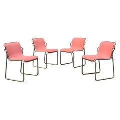 Italian Midcentury Chromed Steel and Pink Fabric Chairs, 1970s