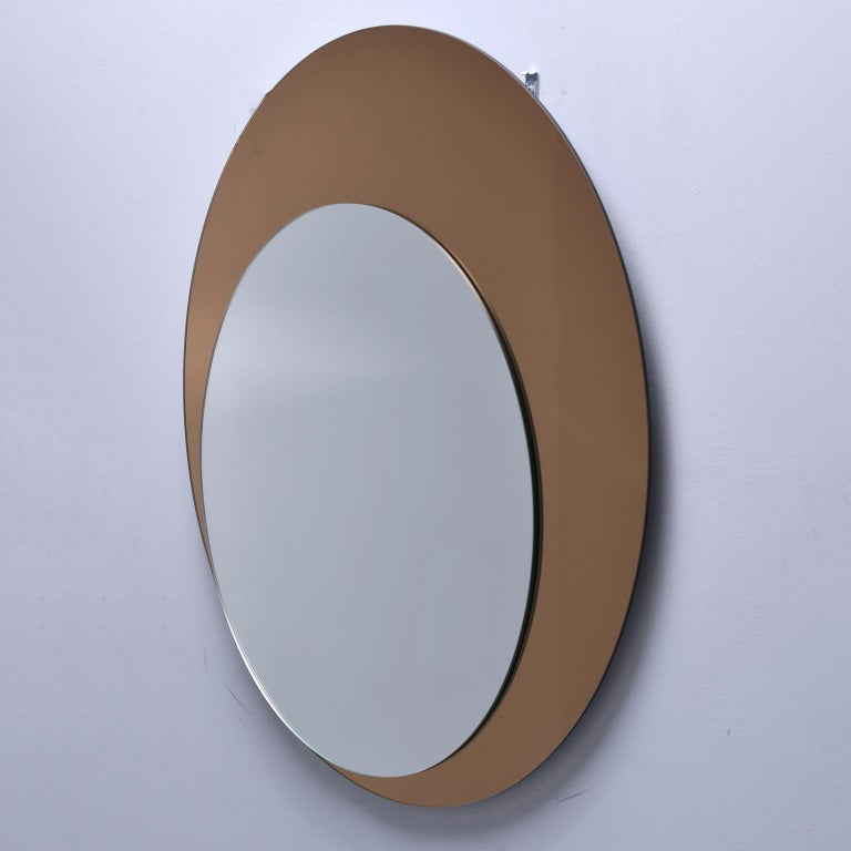 Mid-Century Modern Italian Midcentury Circle Within Circle Mirror For Sale