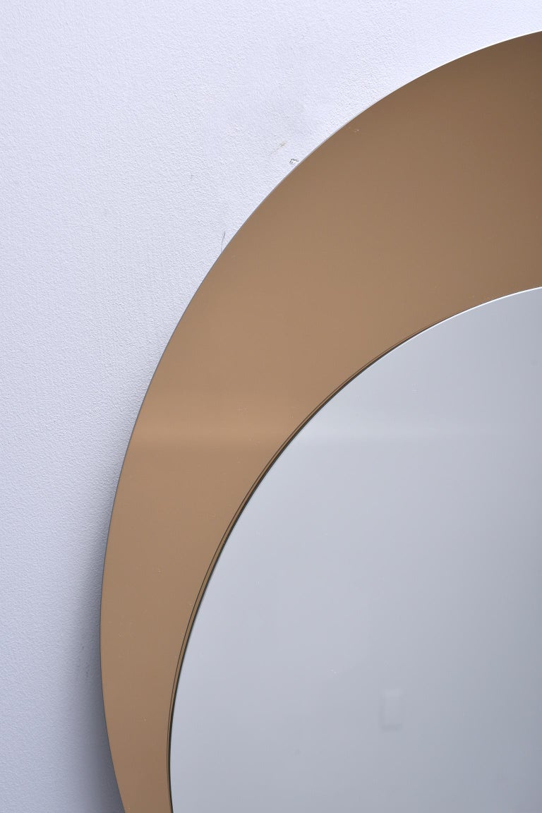 Italian Midcentury Circle Within Circle Mirror For Sale 1