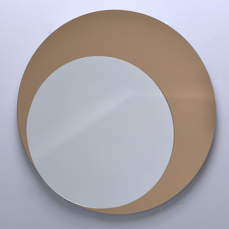Italian Midcentury Circle Within Circle Mirror For Sale 2