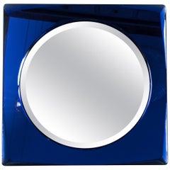 Italian Midcentury Cobalt Blue Square Mirror