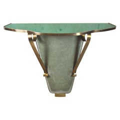 Italian Midcentury Console in Brass and Colored Glass