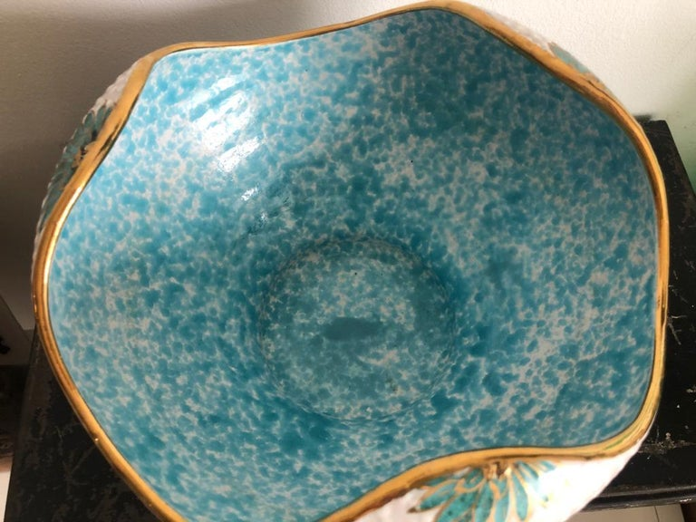 Italian Midcentury Decorative Bowl and Candle Holder by Ars Deruta, 1950s For Sale 4