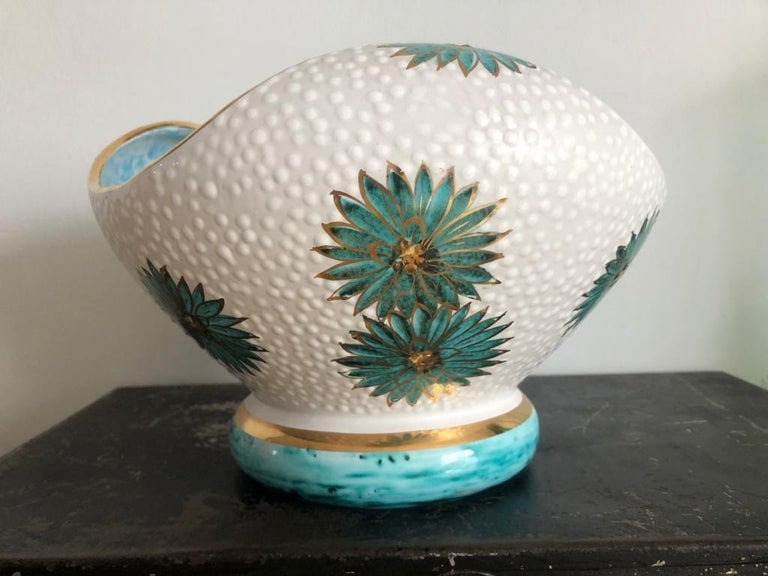 Italian Midcentury Decorative Bowl and Candle Holder by Ars Deruta, 1950s For Sale 5