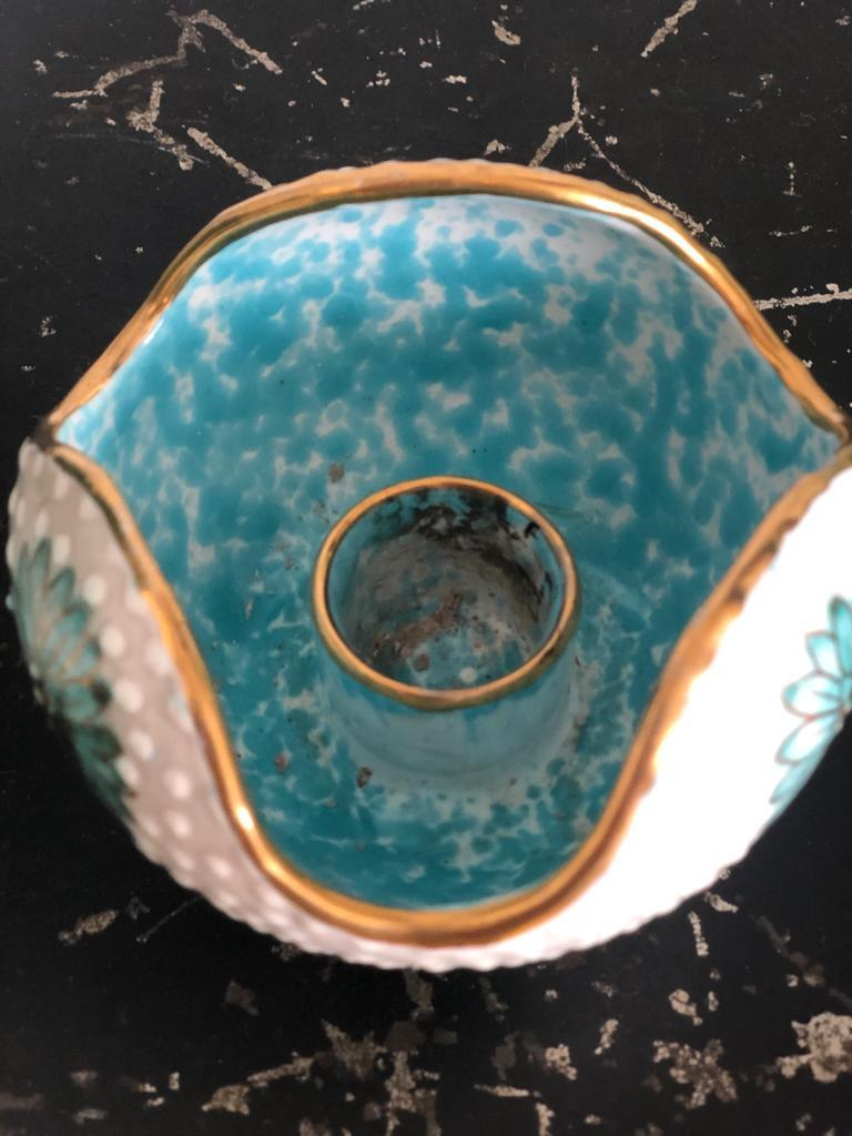 20th Century Italian Midcentury Decorative Bowl and Candle Holder by Ars Deruta, 1950s For Sale