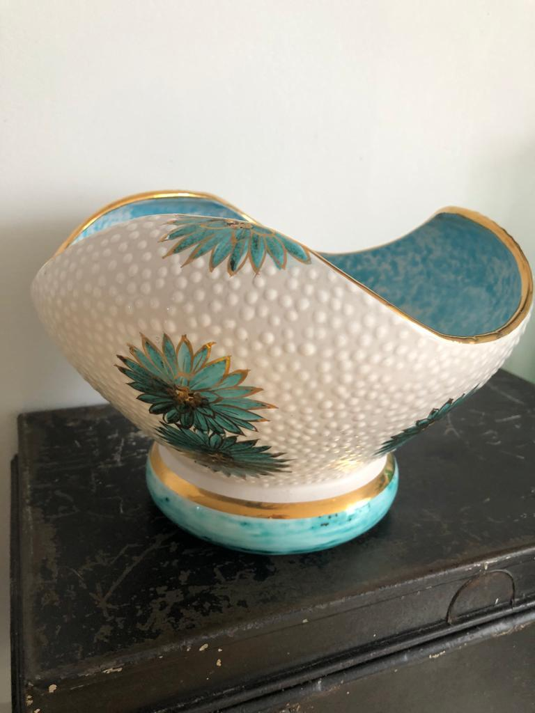 Italian Midcentury Decorative Bowl and Candle Holder by Ars Deruta, 1950s For Sale 3