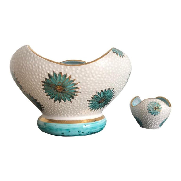 Italian Midcentury Decorative Bowl and Candle Holder by Ars Deruta, 1950s For Sale