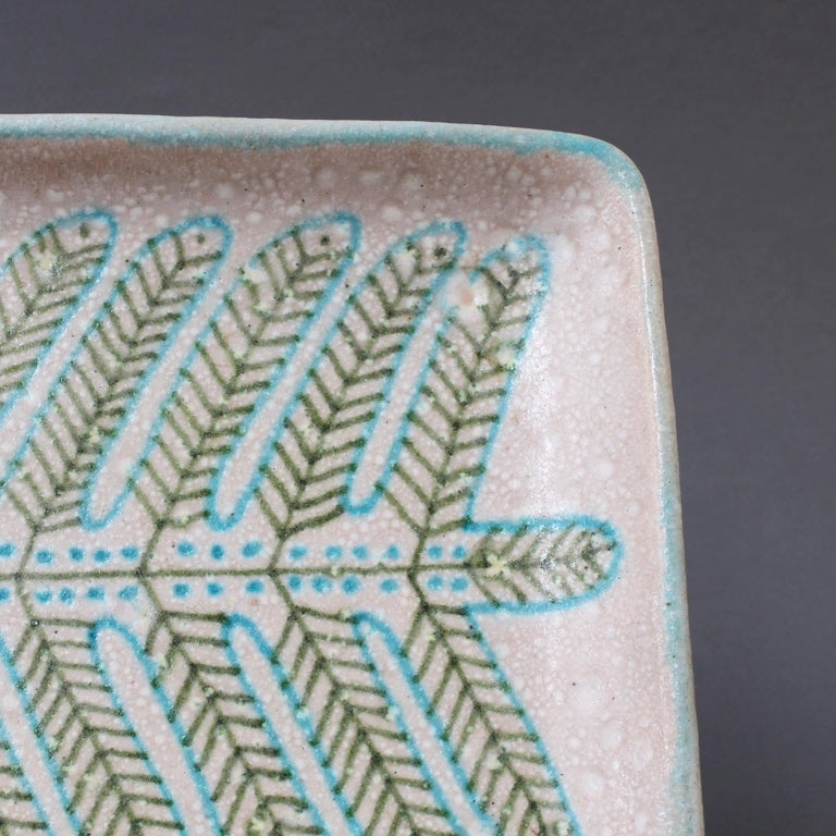 Italian Midcentury Decorative Ceramic Tray by Guido Gambone 'circa 1950s' For Sale 8