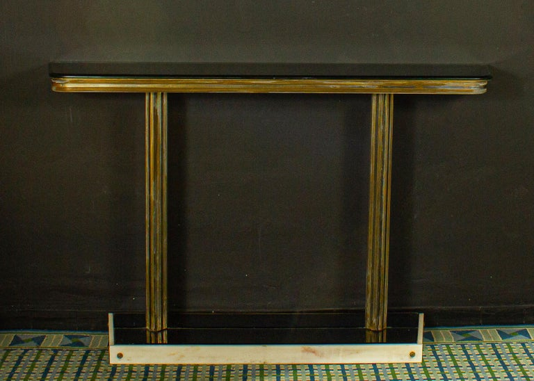 Mid-Century Modern Italian Midcentury Design Console Table with Mirror and Sconces, 1950 For Sale