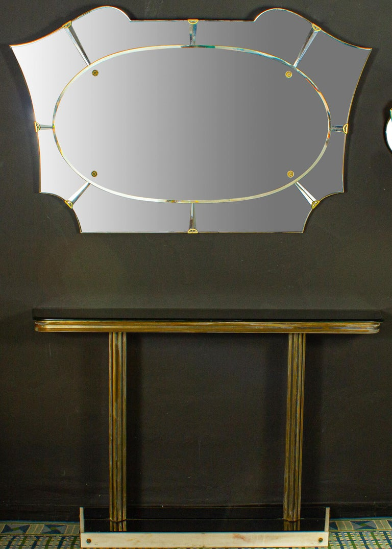Italian Midcentury Design Console Table with Mirror and Sconces, 1950 In Good Condition For Sale In Rome, IT