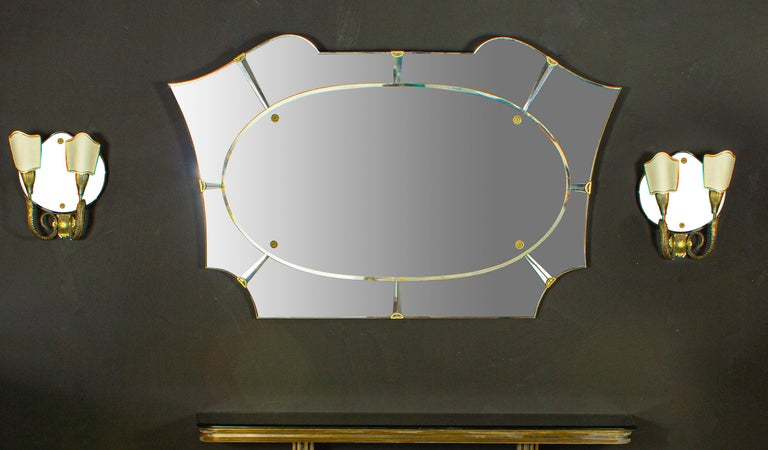 Glass Italian Midcentury Design Console Table with Mirror and Sconces, 1950 For Sale
