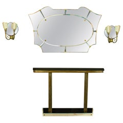 Italian Midcentury Design Console Table with Mirror and Sconces, 1950