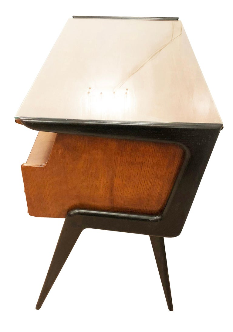 Wood Italian Midcentury Desk in the Manner of Silvio Cavatorta For Sale