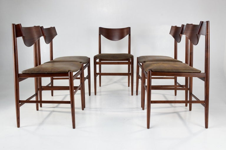 Patinated  Italian Mid-Century Dining Chairs by Gianfranco Frattini, Set of 5, 1960s  For Sale