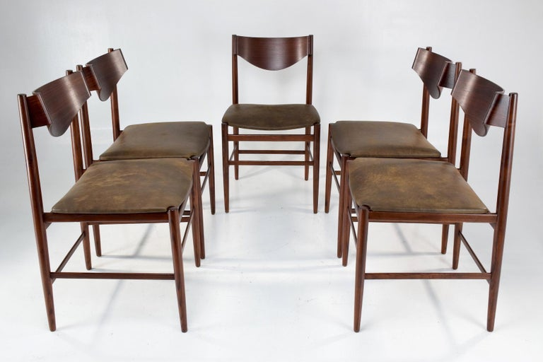 20th Century  Italian Mid-Century Dining Chairs by Gianfranco Frattini, Set of 5, 1960s  For Sale