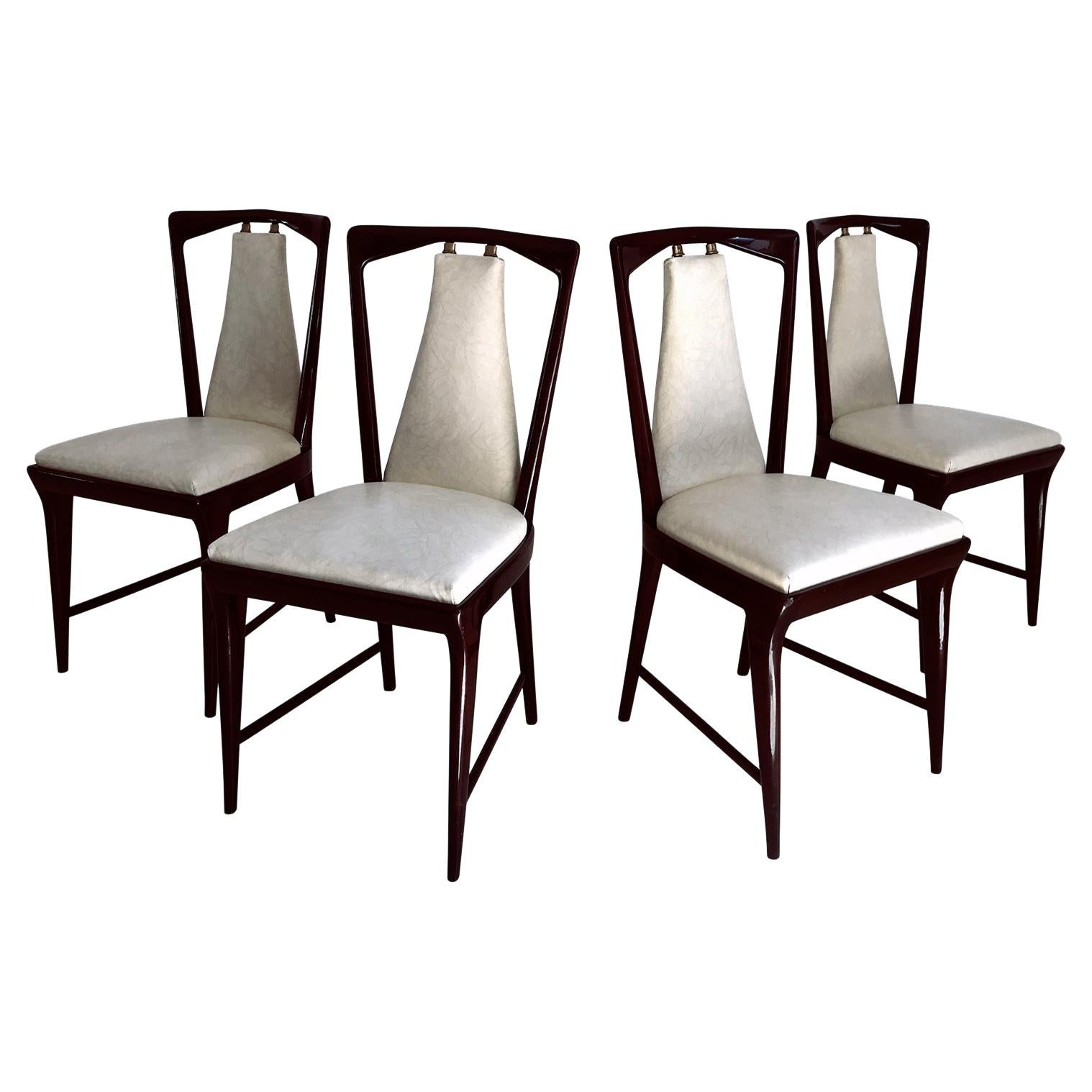 Italian Mid-Century Dining Chairs by Osvaldo Borsani, Set of Four, 1950s