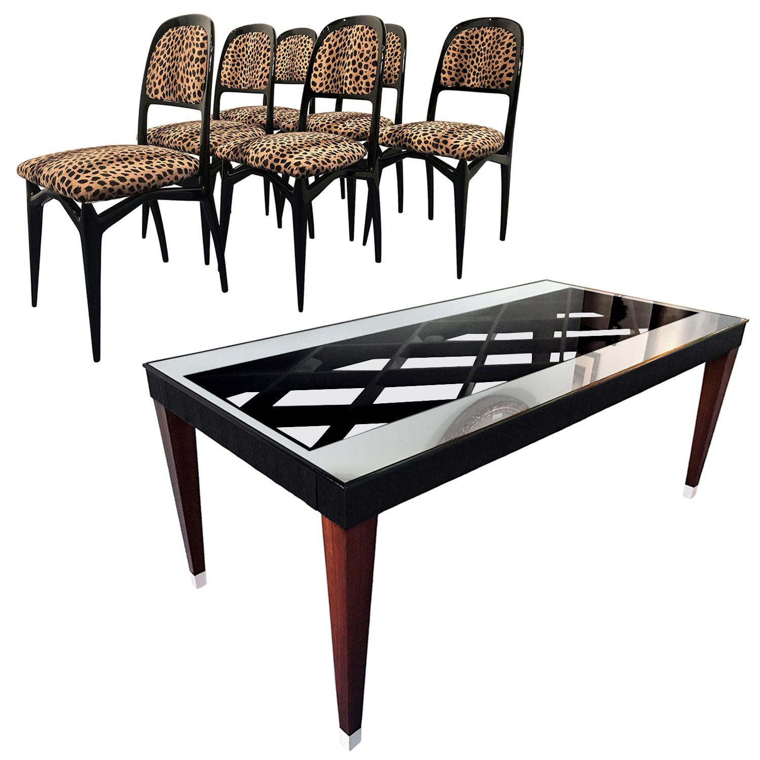 Italian Midcentury Dining Room Composed by Table with Chairs, Set of Six, 1950s