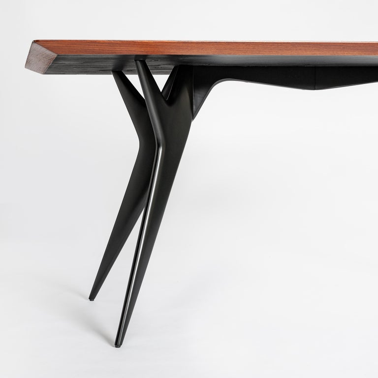 Italian Midcentury Dining Table / Desk Rosewood Wood Veneer by Ico Parisi 1950s In Good Condition For Sale In Salzburg, AT