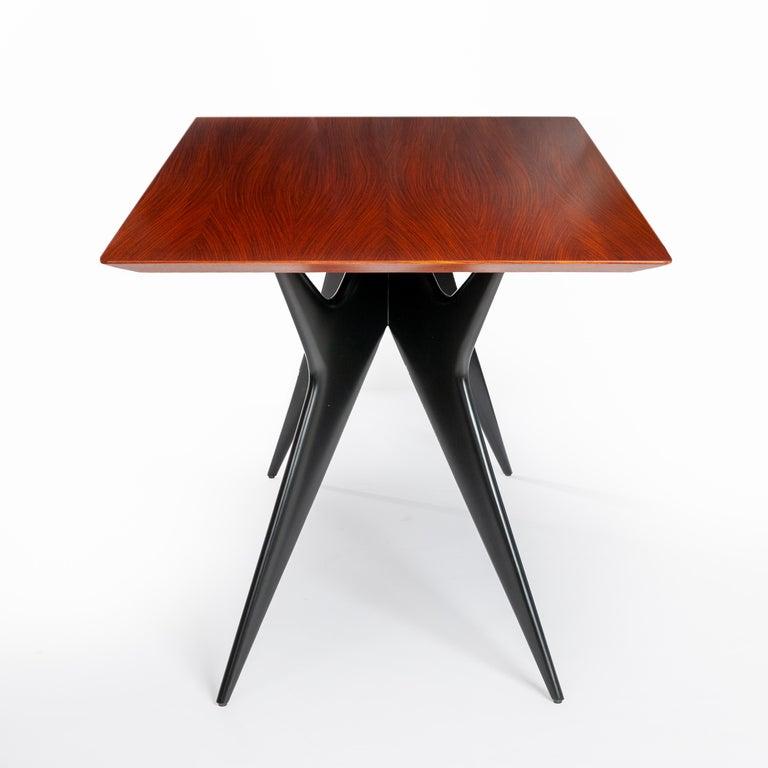 Palisander Italian Midcentury Dining Table / Desk Rosewood Wood Veneer by Ico Parisi 1950s For Sale